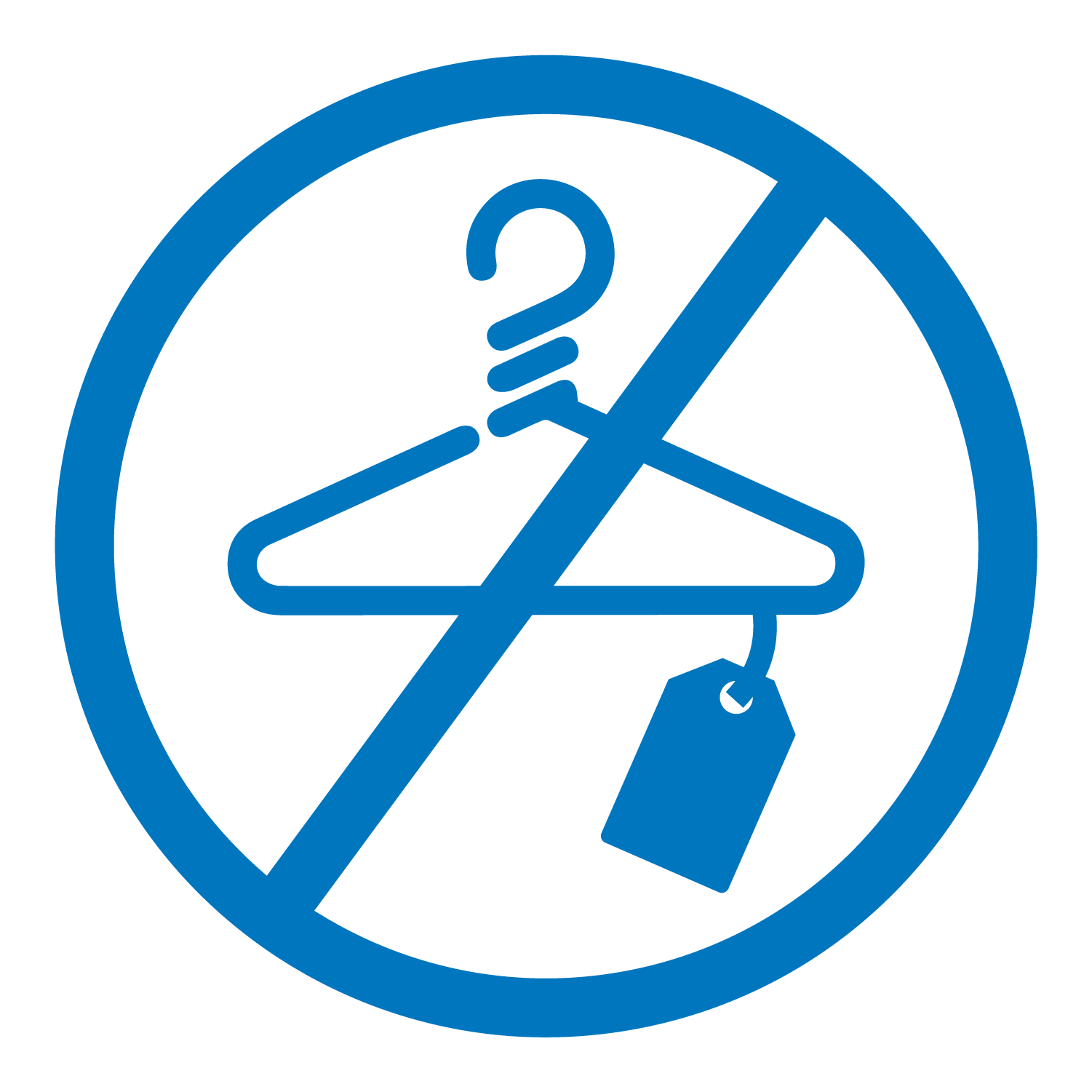 Flat lay blue icon of a circle with a line through it over a hanger and coat check tag