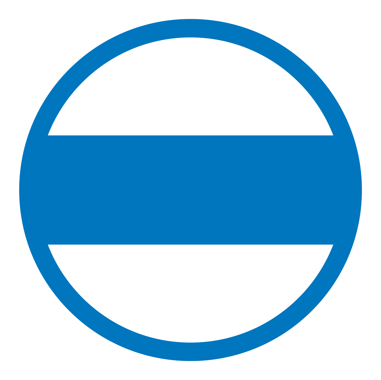 Flat lay blue icon of a closed sign