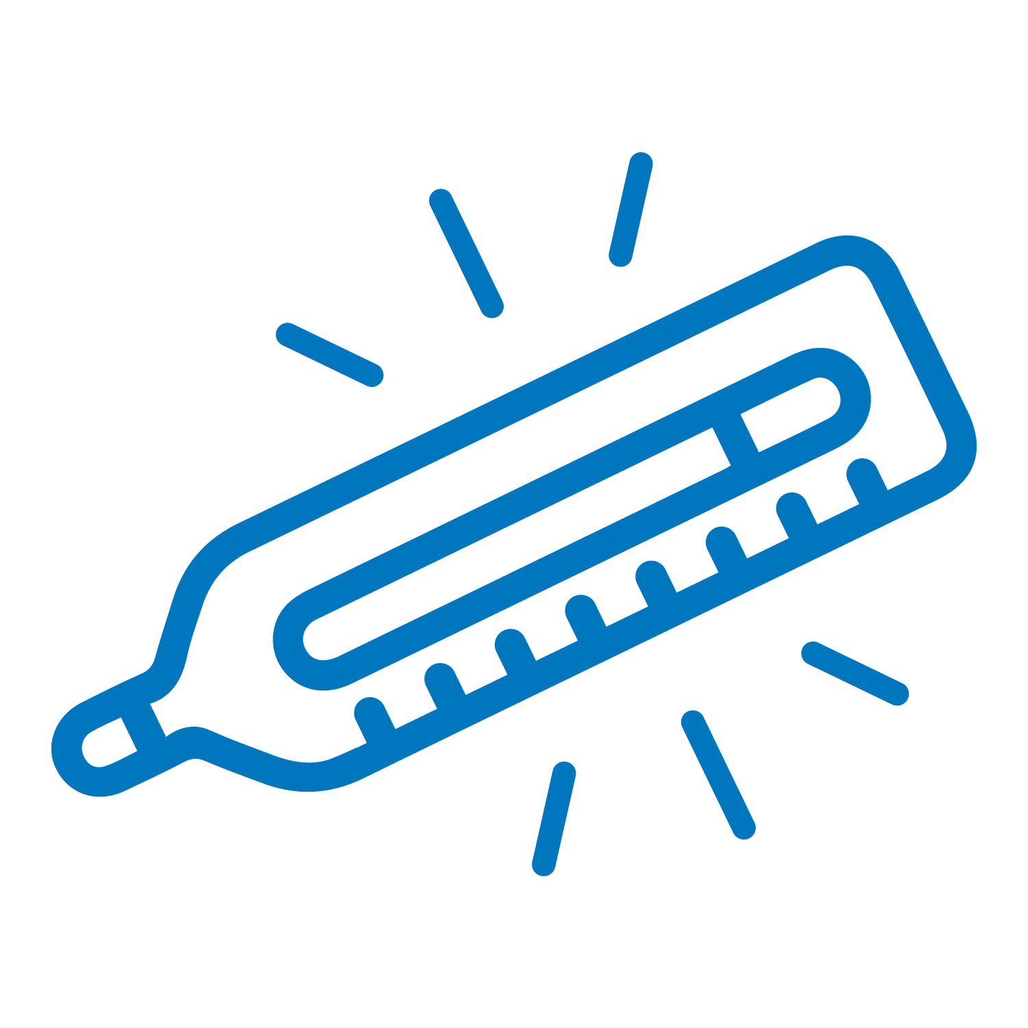 Flat lay blue icon of a thermometer