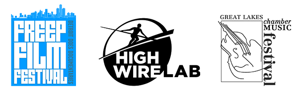 Logos for Freep Film Festival, High Wire Lab, and Great Lakes Chamber Music Festival