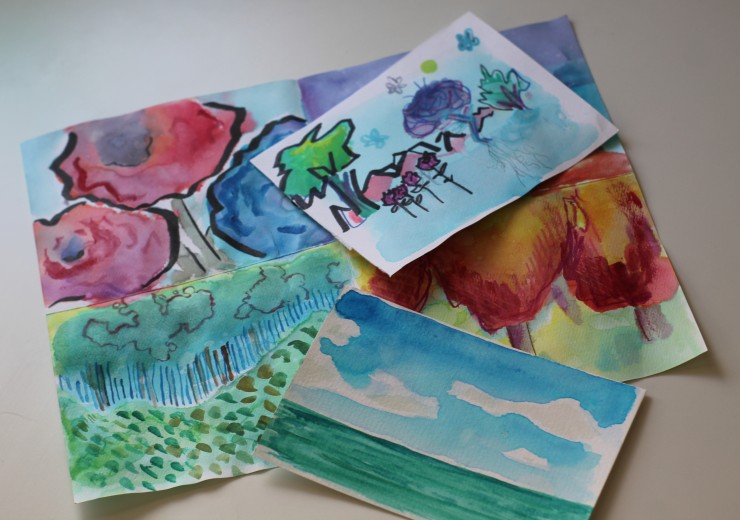 Examples of watercolors made during the summer 2021 CARE program