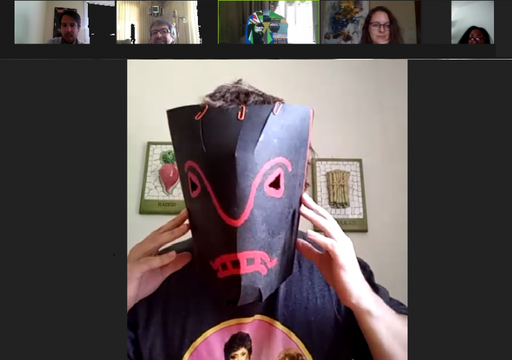 A participant displaying their mask creation