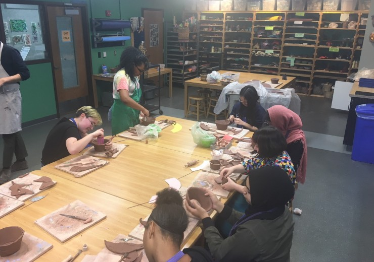 TAC members participate in a variety of art-making activities throughout the year. Here, members create clay bowls with Studio staff.