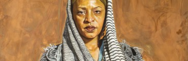 """""""Mom Says I'm Her Sun,"""" 2015, Mario Moore, American; oil on copper. Collection of David and Linda Whitaker."""