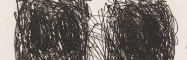 """""""Untitled,"""" 2015, Rashid Johnson, American; softground etching printed on black in somerset velvet antique white. Lent by Marc A. Schwartz and Emily Camiener."""