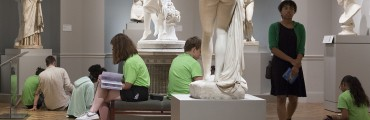 Students in the European art gallery