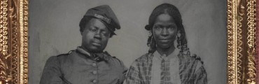 """Untitled (Solider and Companion),"" around 1861–65, Unknown Photographer,"" tintype. Detroit Institute of Arts"