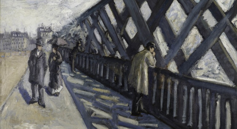 """Etude pour """"Le Pont de l'Europe"""" (Study for """"Le Pont de l'Europe""""), 1876, Gustave Caillebotte, French; oil on canvas. Collection Albright-Knox Art Gallery, Buffalo, New York. Photograph by Tom Loonan and Brenda Bieger, courtesy of Albright-Knox Art Galler"""