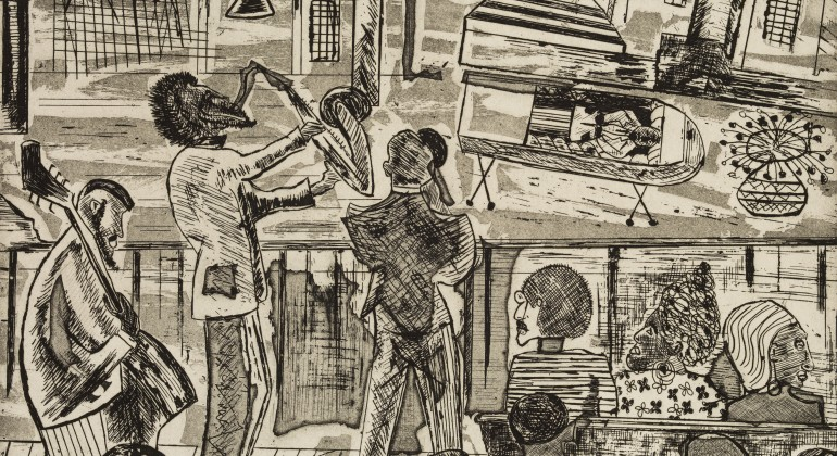 A pen drawing of jazz musicians performing and surrounded abstractly by an audience.