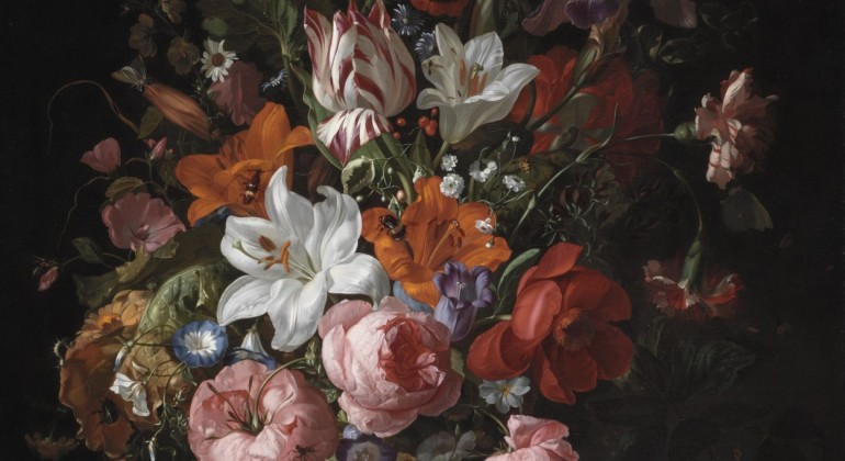 Rachel Ruysch, Flowers in a Glass Vase, 1704, oil on canvas. Detroit Institute of Arts.