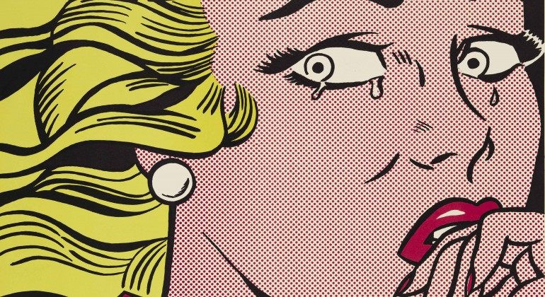 """""""Crying Girl,""""1963, Roy Lichtenstein, American; offset lithograph printed in color on off-whitewove paper. Detroit Institute of Arts."""