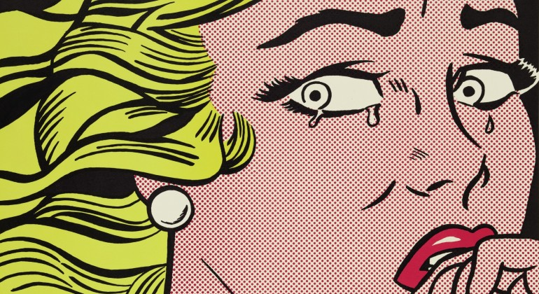 """Crying Girl,"" 1963, Roy Lichtenstein, American; offset lithograph printed in color on off-white wove paper. Detroit Institute of Arts."
