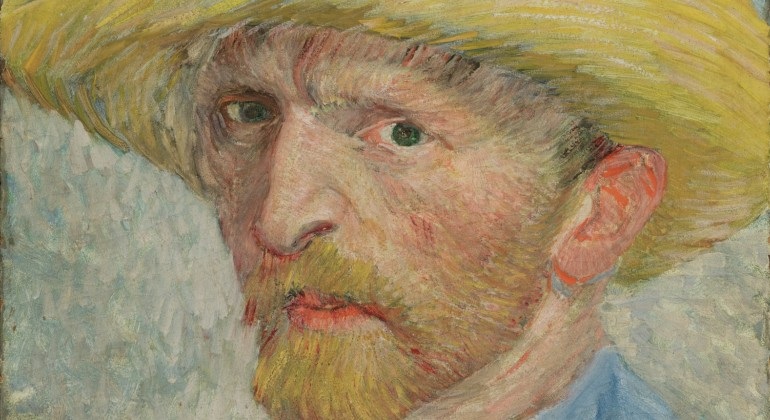 """Self-Portrait,"" 1887, Vincent van Gogh, Dutch; oil on artist board, mounted to wood panel. Detroit Institute of Arts."