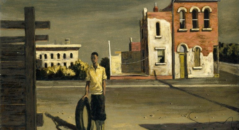 """""""Boy wth Tire,"""" 1952, Hughie Lee-Smith, American; oil on pressed wood panel. Detroit Institute of Arts."""