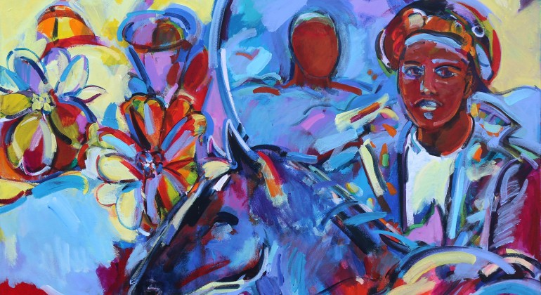"""""""Flight with Mirror,"""" 2014, Shirley Woodson, American; acrylic on canvas."""