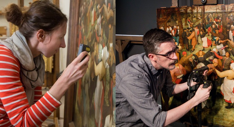 Aaron Steele, imaging specialist and Ellen Hanspach-Bernal, conservator of paintings, both at work.