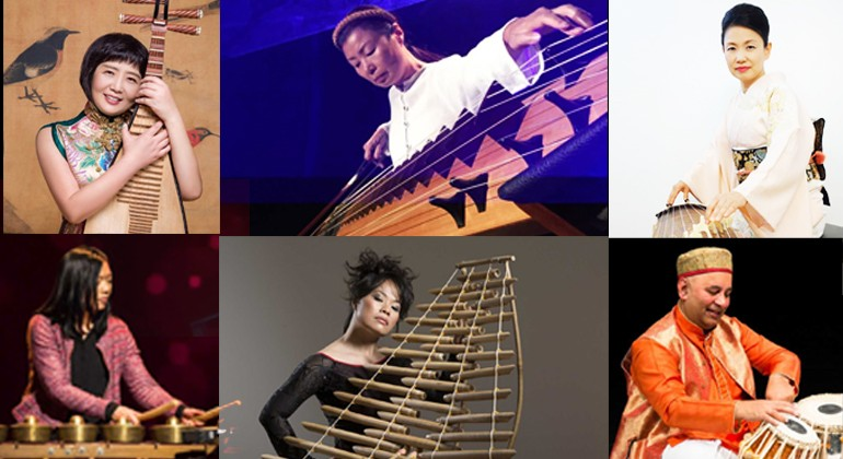 A collage of photos of Asian Sound revolution members playing instruments