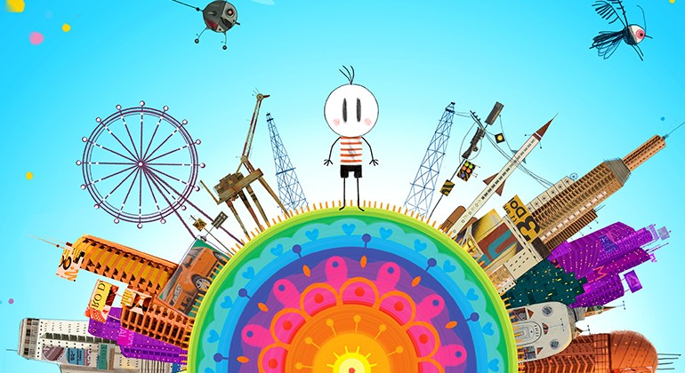 A stick figure boy standing atop a multicolor abstract earth with large buildings and a bright blue sky.