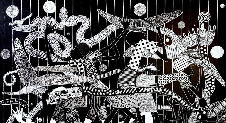 A black and white artwork by Charles McGee