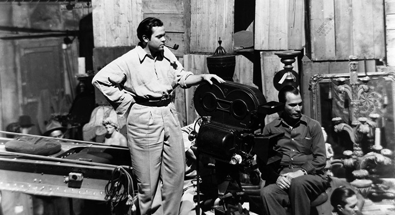 A shot of Orson Welles directing Citizen Kane
