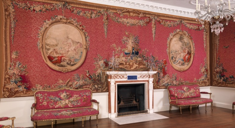 Tapestry Room from Croome Court, Worcestershire, 1763–1771; after a design by Robert Adam, 1728–1792, British. Tapestries and furniture covers manufactured by Manufacture Nationale des Gobelins, established 1662, French. Metropolitan Museum of Art, New Yo