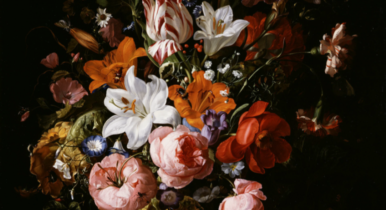 Flowers in a Glass Vase, 1704. Rachel Ruysch. Dutch