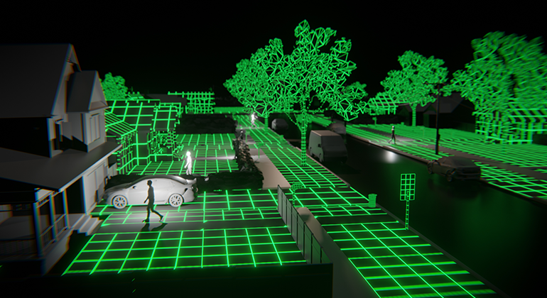 A black and white prototype style of a neighborhood with green grid marks across the scene.