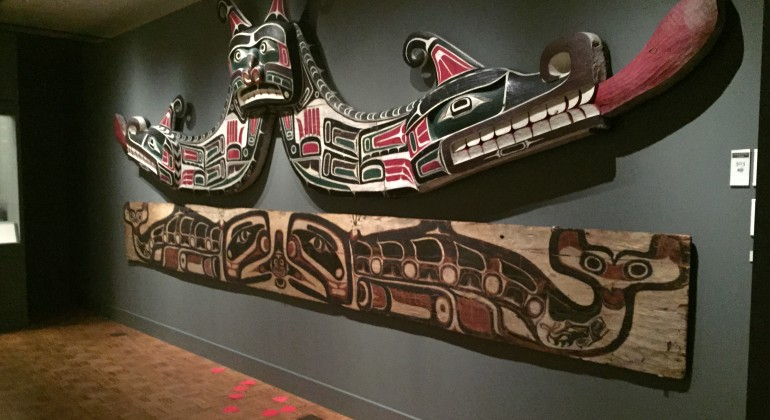 Hearts for Art on the floor in the Native American galleries