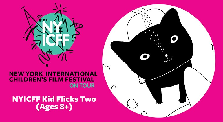 Black and white illustration of a cat, on a bright pink background with NYICFF logo