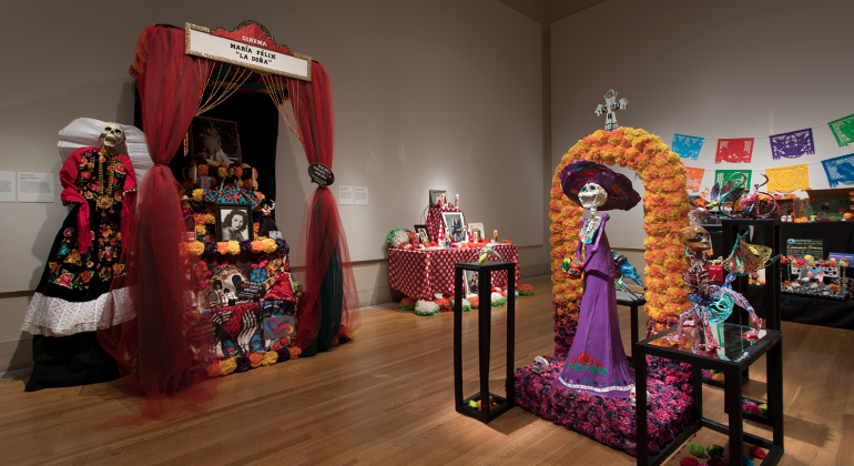 An image of four of 2018's colorful Ofrenda altarpieces