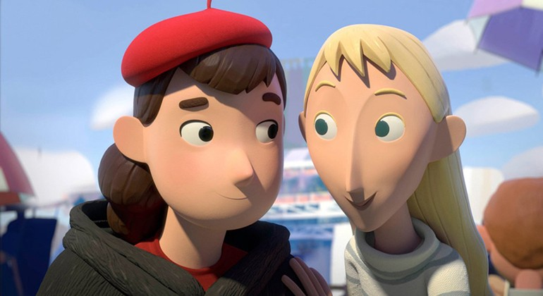 A still of two girls from an animated film