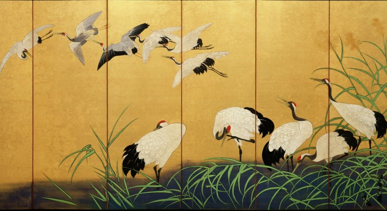 """Reeds and Cranes,"" 1800s, Suzuki Kiitsu, Paint and gold on silk. Detroit Institute of Arts"