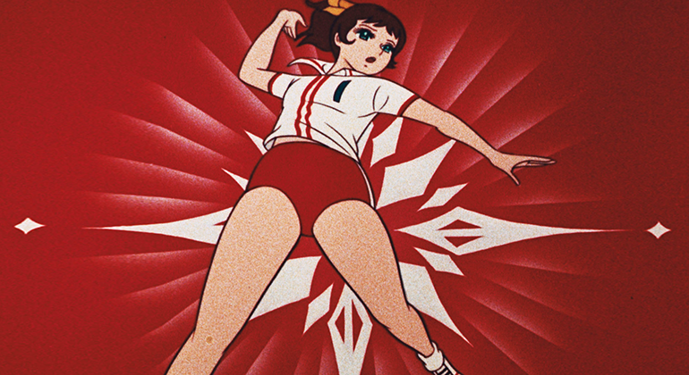 An anime style drawing of a woman in red short and a red and white striped polo shirt posing as if throwing a baseball pitch on a red background with white stars.