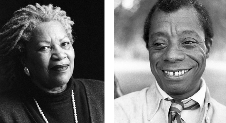 Side-by-side portraits of Toni Morrison and James Baldwin