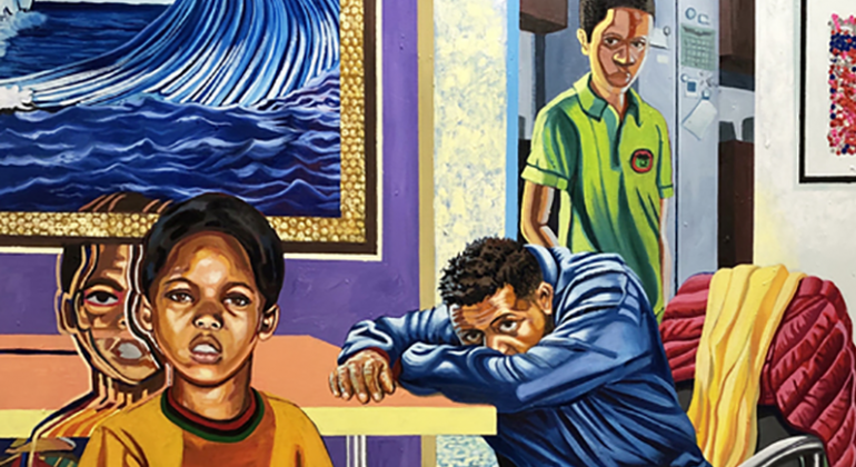 A work from Senghor Reid featuring three boys around the table in a home with bright walls and yellow shag carpeting.