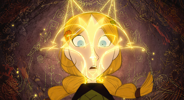 Snapshot from an animated film with a person with long blond braids staring wide-eyed ahead and something lights up in front of them.