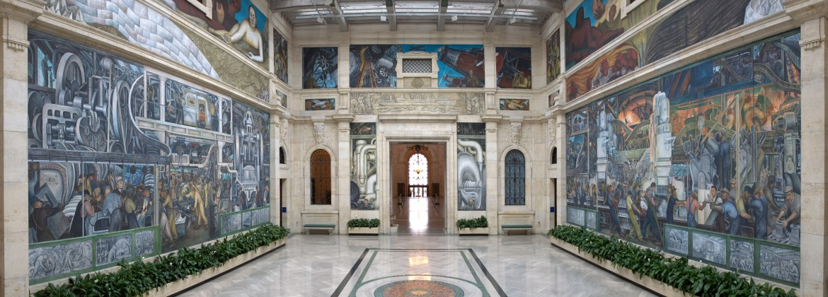 Photograph of Rivera Court and Detroit Industry mural
