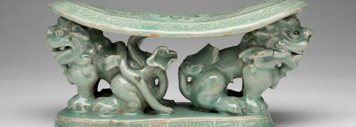 Korean. Pillow with Lions, 12th–13th century. Stoneware with slip and celadon glaze, 4 3/4 × 9 1/2 × 3 inches. Detroit Institute of Arts, Founders Society Purchase, New Endowment Fund, and Benson and Edith Ford Fund. 80.39