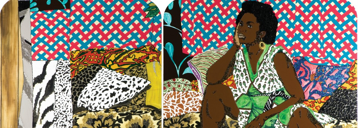 """Baby I Am Ready Now,"" Mickalene Thomas, 2007, Diptych, acrylic, rhinestone and enamel on wooden panel. Rubell Family Collection, Miami"