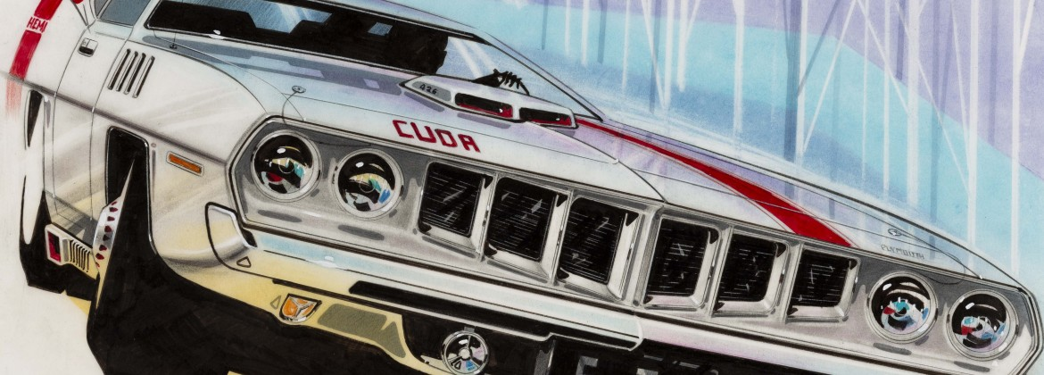 """'71 Barracuda Front End Facelift Concept,"" 1968, Donald Hood, American; crayon, gouache, ink, felt marker, prismacolor, pastel on vellum. Collection of Robert L. Edwards and Julie Hyde-Edwards."