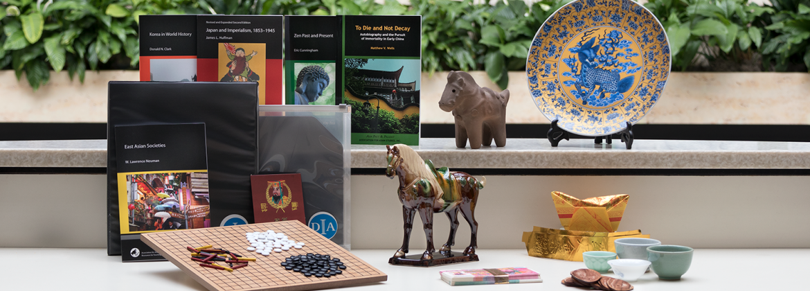 A DIA Delivered K-12 Asian Art kit assembled for high school students, pictured in Rivera Court