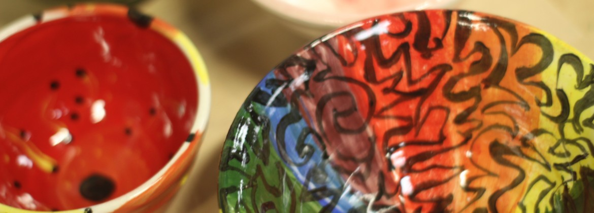 An assortment of glazed bowls for the 2021 Empty Bowls project