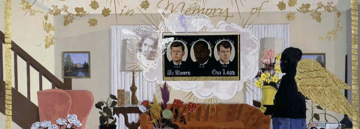 """""""Souvenir II"""", 1997, Kerry James Marshall, American, Acrylic, collage, and glitter on unstretched canvas banner. Addison Gallery of American Art, Phillips Academy"""