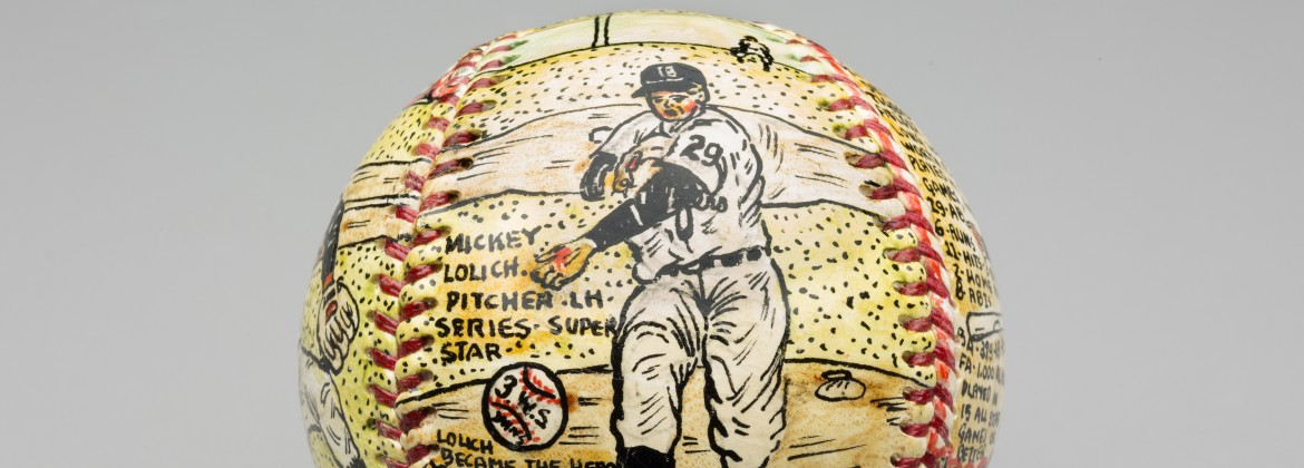 George Sosnak (American, 1922–1992). Mickey Lolich, 1969, pen and ink on leather. Collection of E. Powell Miller.