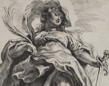 """Saint Catherine,"" ca. 1620, Peter Paul Rubens, Flemish; etching and engraving. Detroit Institute of Arts"