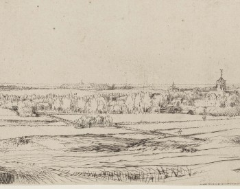 """The Goldweigher's Field,"" 1651, Rembrandt van Rijn, Dutch; etching and drypoint. Detroit Institute of Arts"