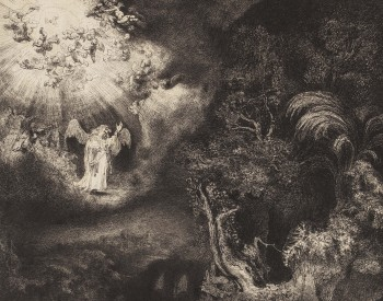 """The Angel Appearing to the Shepherds,"" 1634, Rembrandt van Rijn, Dutch; etching, engraving, and drypoint. Detroit Institute of Arts"