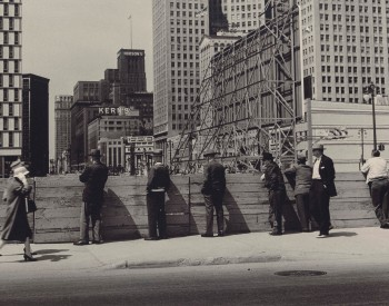"""Construction Watchers, Detroit, Michigan,"" 1960, Russ Marshall, American; gelatin silver print."
