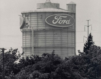 """""""Ford Rouge Plant and Woodmere Cemetery,"""" 1992, Russ Marshall, American; gelatin silver print."""