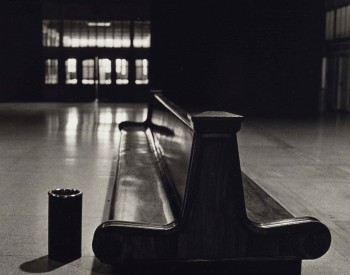 """Michigan Central Train Depot, Bench,"" 1987, Russ Marshall, American; gelatin silver print."